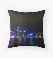 Lights in Hong Kong Harbour Throw Pillow