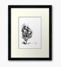 Samurai sword bushido katana martial arts sumi-e original running run man design ronin ink painting artwork Framed Print