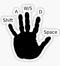 Gamer Hand; WASD Sticker