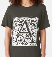 William Morris Renaissance Style Cloister Alphabet Letter A Slim Fit T-Shirt