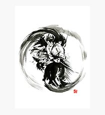 Aikido techniques martial arts sumi-e black white round circle design yin yang ink painting watercolor artwork Fotodruck