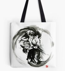 Aikido techniques martial arts sumi-e black white round circle design yin yang ink painting watercolor artwork Tote Bag