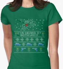 Camiseta entallada Suéter feo, suéter de Navidad Lo he escuchado en ambos sentidos