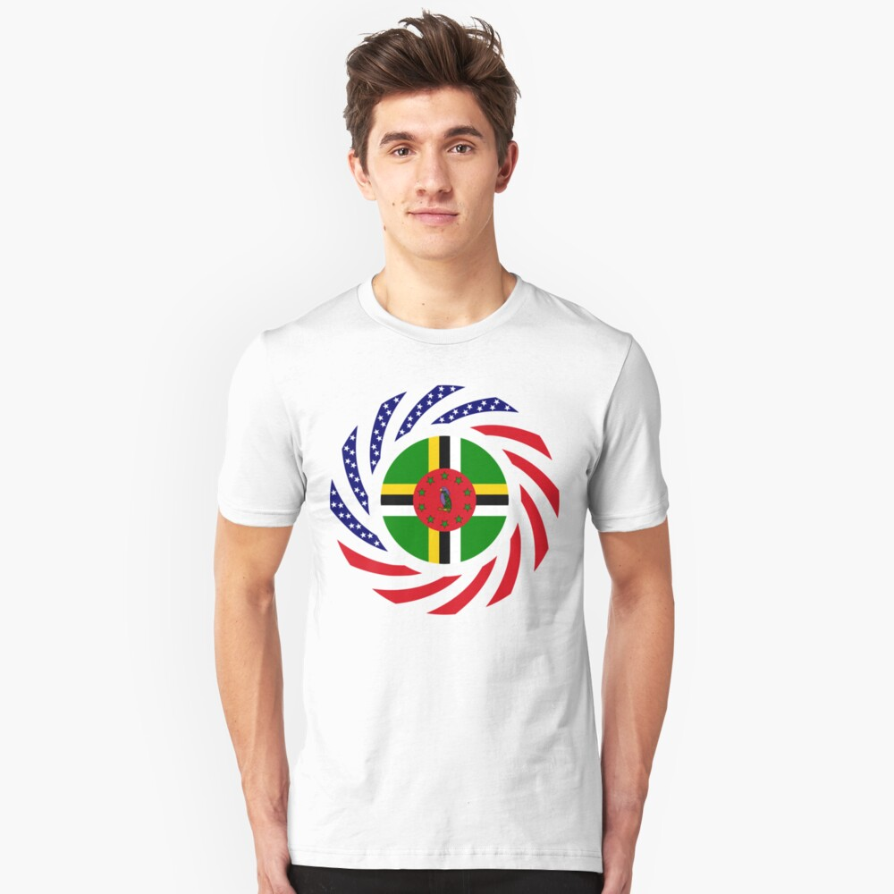 Dominica American Multinational Patriot Flag Series Slim Fit T-Shirt