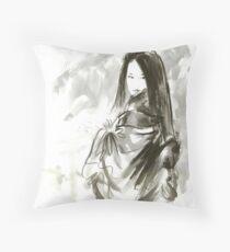 Geisha Japanese woman beauty maiko geiko portrait beautiful face kimono original Japan painting art Throw Pillow