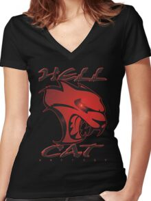 Hellcat Glare Women's Fitted V-Neck T-Shirt
