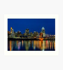 Cincinnati skyline at twilight Art Print