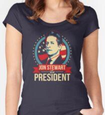 Jon Stewart for President  Women's Fitted Scoop T-Shirt