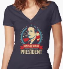 Jon Stewart for President  Women's Fitted V-Neck T-Shirt