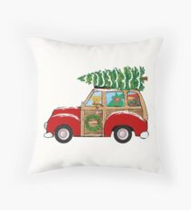 Christmas Woody Wagon- Bringing Home the Xmas Tree Throw Pillow