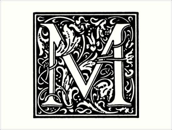 William Morris Renaissance Style Cloister Alphabet Letter M By Pixelchicken