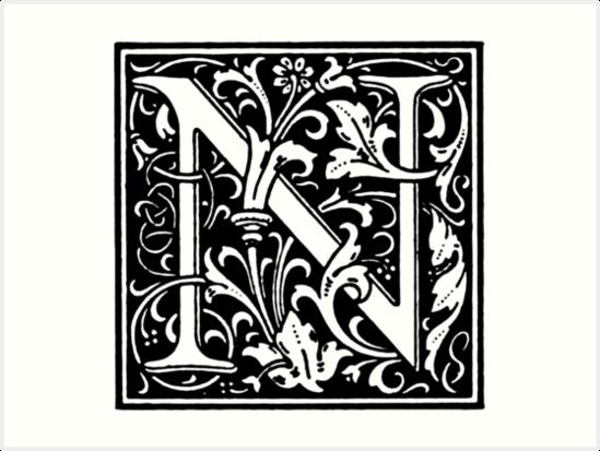 William Morris Renaissance Style Cloister Alphabet Letter N Art