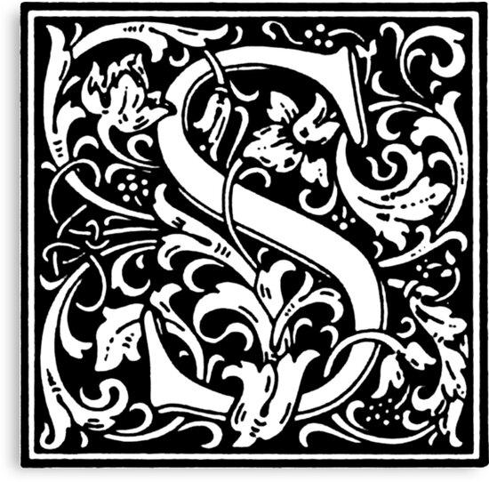 William Morris Renaissance Style Cloister Alphabet Letter S by Pixelchicken