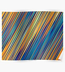 Color and Form Abstract - Striped Line Rain of Yellows and Blues Poster