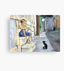 Boy playing flute for cat Canvas Print