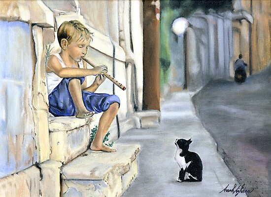 Boy playing flute for cat by sa4720k