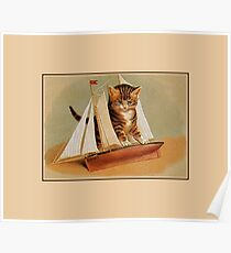 Cute Victorian Kitten Wooden Toy Boat Poster