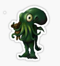 H P Lovecraft Baby Cthulhu with Teddy Sticker