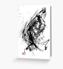 Samurai ronin wild fury bushi bushido martial arts sumi-e original ink painting artwork Greeting Card