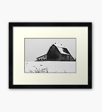 Barn with Snow (Black and White) Wellington N.S. Framed Print