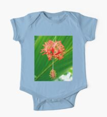 Red Hanging Flower Bloom One Piece - Short Sleeve