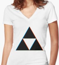 3D Triforce Women's Fitted V-Neck T-Shirt