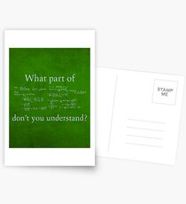 What Part Don't You Understand Math Humor Nerd Geek Poster Postcards