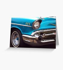 Chevrolet Bel Air Muscle Cart in Blue and Gold Greeting Card