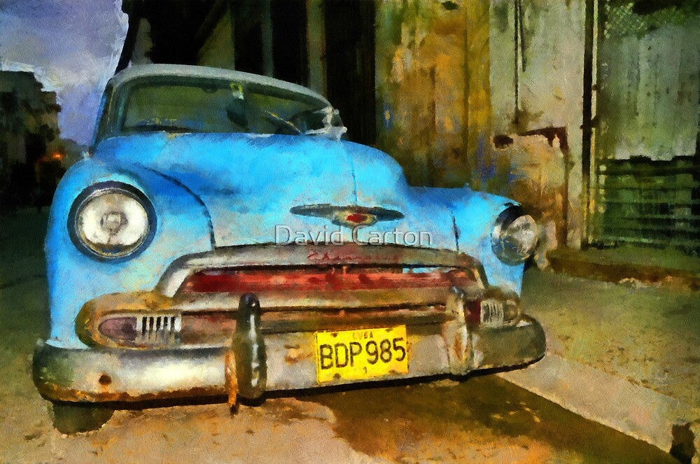 Blue Chevy early morning, Havana, Cuba by David Carton