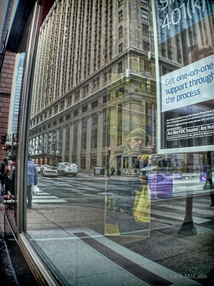 Adams Street, Chicago - Reflecting on Finances -Self Portrait by Jack McCabe