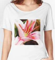 Macro Pink and White Lilly Flower in the Garden Women's Relaxed Fit T-Shirt