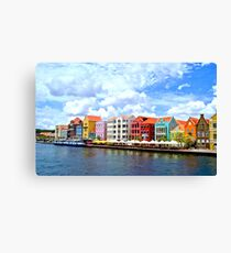 Pastel Colors of the Caribbean Coastline in Curacao Canvas Print