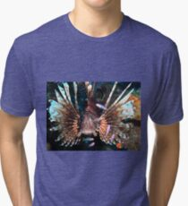 Caribbean Lion Fish guarding the Coral Reef Tri-blend T-Shirt