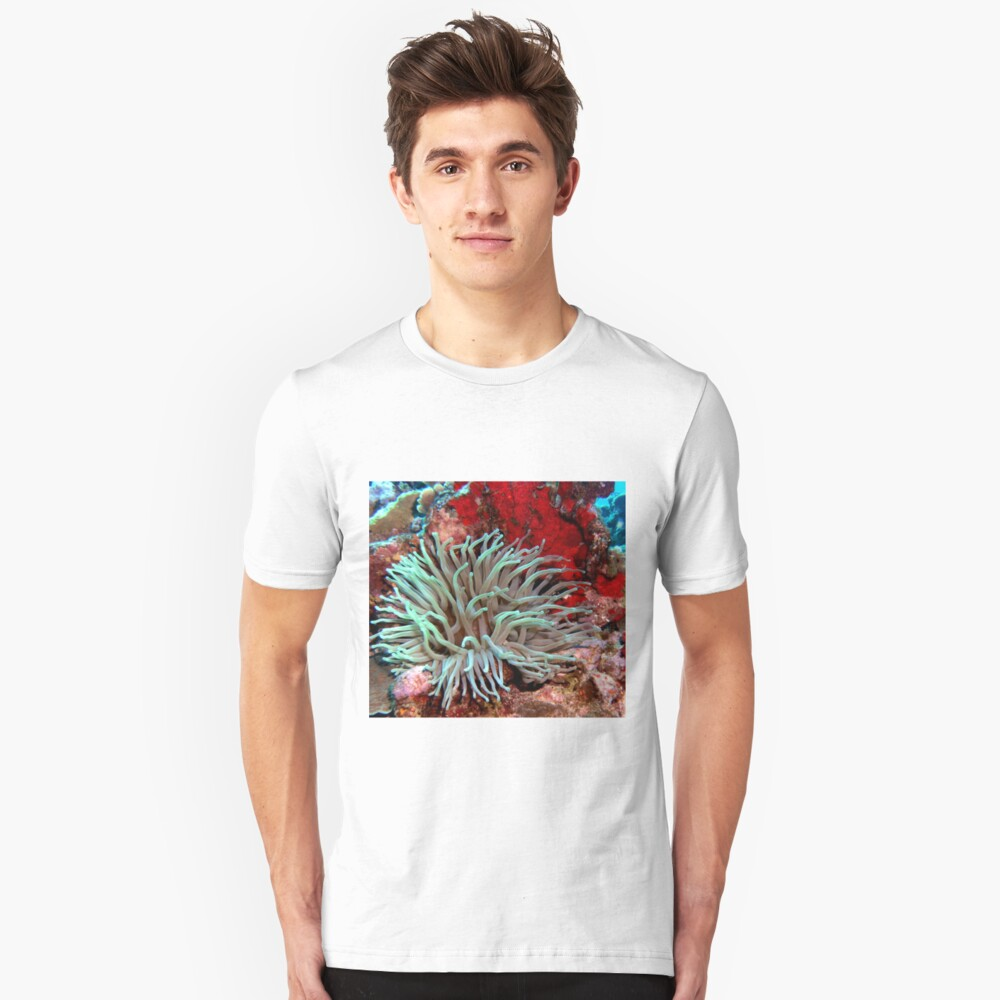 Giant Green Sea Anemone feeding near Red Coral Reef Wall Unisex T-Shirt Front