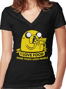 I love food more than I love people Women's Fitted V-Neck T-Shirt