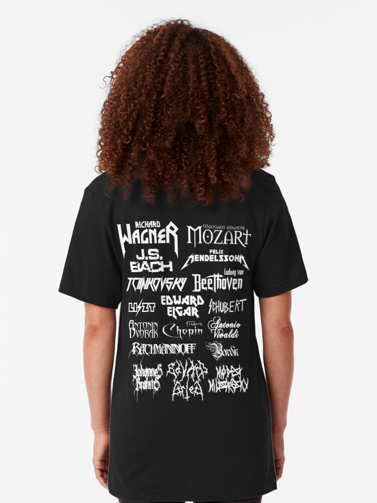 Alternate view of Heavy Metal-style Classical Composers Slim Fit T-Shirt