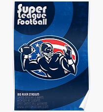 Super League Football Quarterback Retro Poster Poster