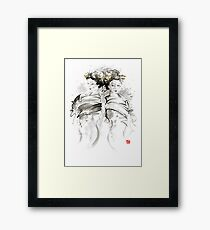 Geisha Japanese women woman in kimono traditional original Japan painting art hair pin style design gold silver  Framed Print