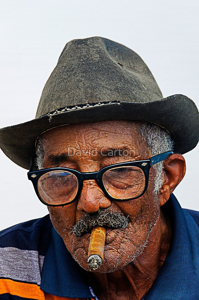 Old Cuban man & cigar, Trinidad, Cuba by David Carton