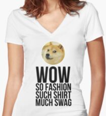 Wow. Such offer. So cool. Women's Fitted V-Neck T-Shirt