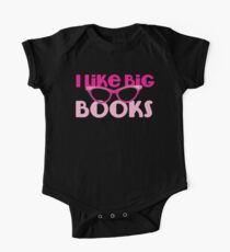 I LIKE BIG BOOKS in pink with cute eye glasses One Piece - Short Sleeve