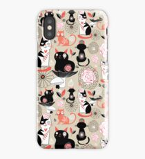 Floral pattern with cats iPhone Case