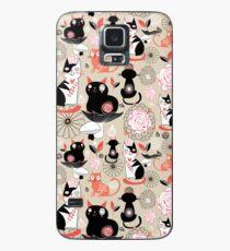 Floral pattern with cats Hülle & Klebefolie für Samsung Galaxy