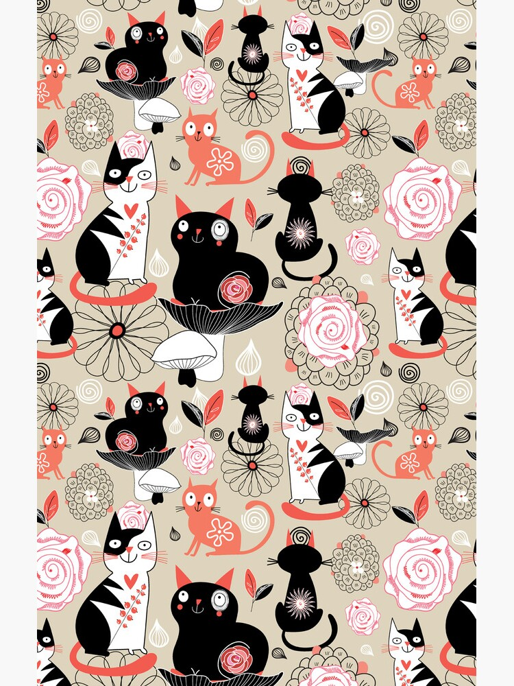 Floral pattern with cats von Tanor