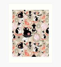 Floral pattern with cats Art Print