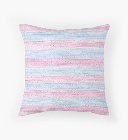 Rose Quartz And Serenity Pattern Stripes Dots Hand Drawn Lines Throw Pillow