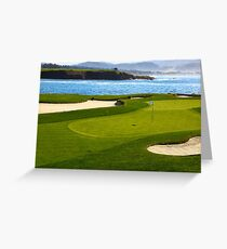 Golf green by the ocean Greeting Card