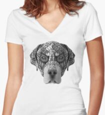 Ornate Rottweiler Women's Fitted V-Neck T-Shirt