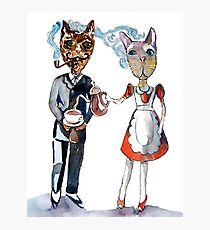 Retro Cats Having Tea Photographic Print