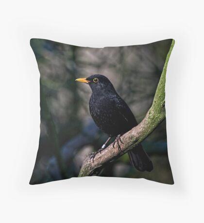Woodland Blackbird Throw Pillow